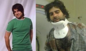 Amir Javadifar. A sinistra, poco prima di essere arrestato. A destra, nell'ultima immagine che abbiamo di lui da vivo, in ospedale dopo essere stato violentemente percosso e torturato.